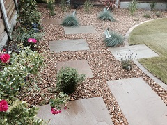 Gravel border with paving
